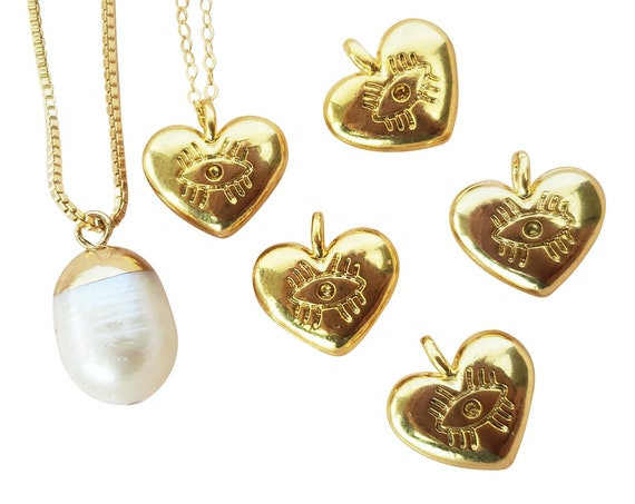 Ariana Heart Charm. 24K Gold Plated Brass.