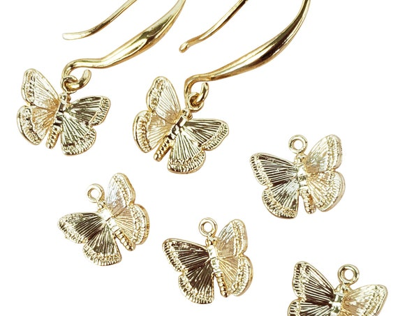 Mona Butterfly Pendant. Gold Plated Brass.