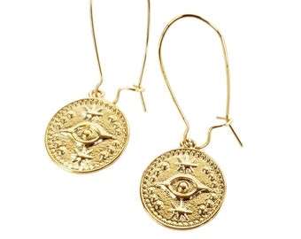 14K  Gold Plated Oriental Pendant Earrings Jewelry Supply. 2pcs