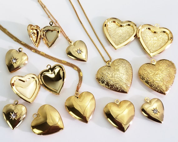 Annie Heart Locket. Three Types. Gold Plated Brass and Cubic Zirconia.