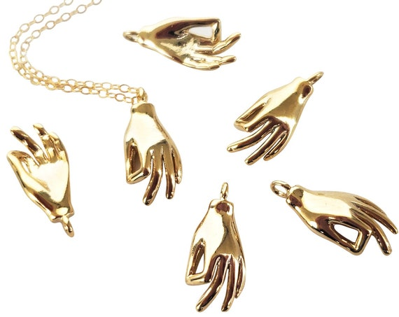 Helena Hand Pendant. Gold Plated Brass.