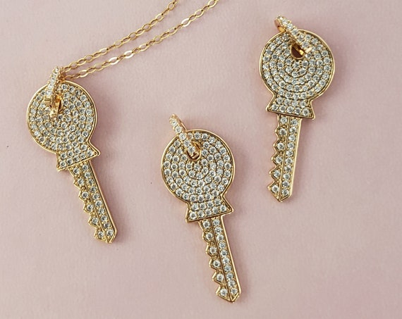 Slide-On Nina Key Pendant. Gold Filled and Cubic Zirconia.