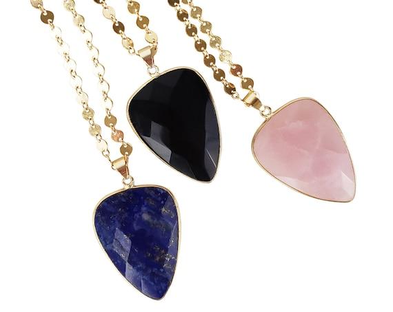Selene Pendant. Three Colors. Rose Quartz, Lapis Lazuli or Black Agate and 24K Gold Plated Edging.