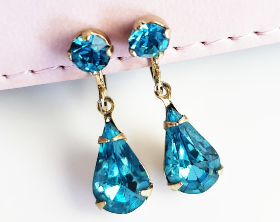 Vintage Signed Coro Blue Teardrop Earrings.