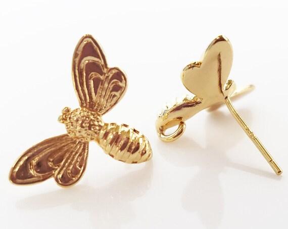 Lia Bee Earrings. 24K Gold Plated Brass.