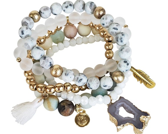 Marleigh Stacker Bracelets. 5 Styles. Stone, Glass and Gold Plated Copper.