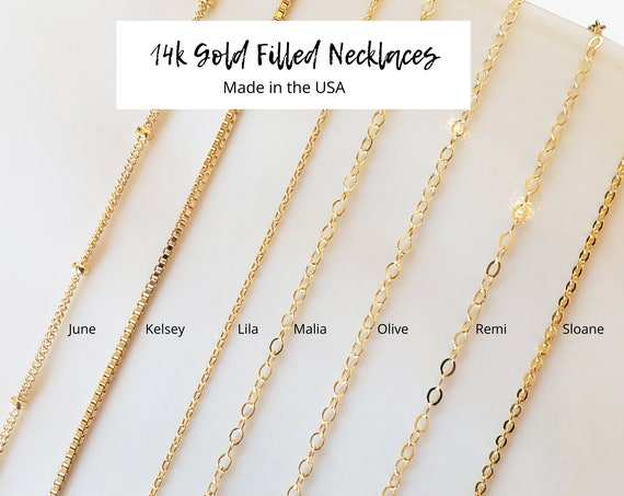 Gold Filled Necklace Collection. Seven Styles and Five Lengths. 14K Gold Filled.