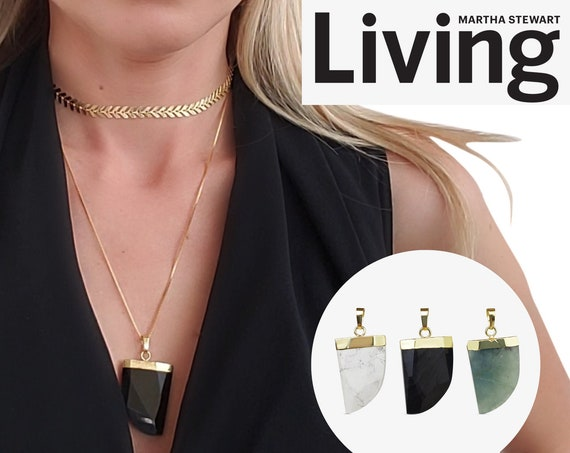 Mila Pendant. Three Colors. Gemstone with 24K Shiny Gold Plating.
