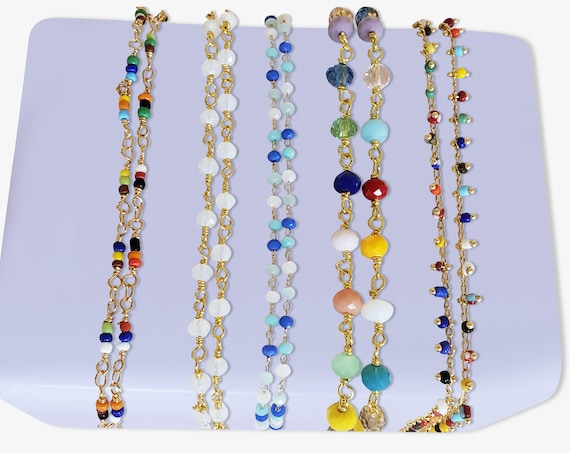 Beaded Necklace Collection. Five Styles of Chain By The Foot.