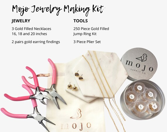 Hannah Plus Jewelry Making Toolkit. Necklaces, Earrings, Jump Rings and Pliers.