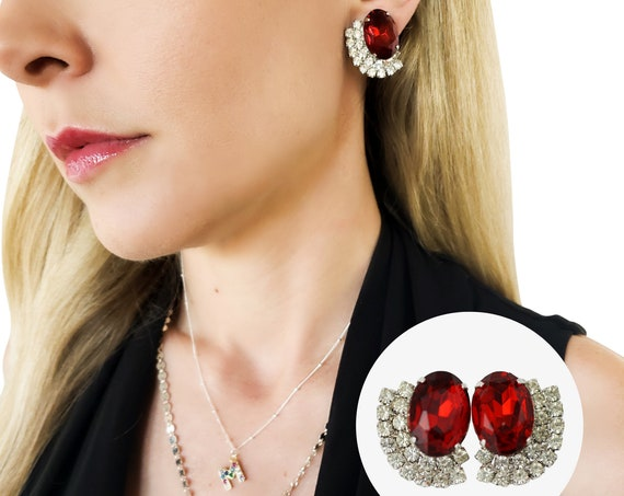 Vintage Jo Earrings. Ruby Red Rhinestones and Silver Plating.