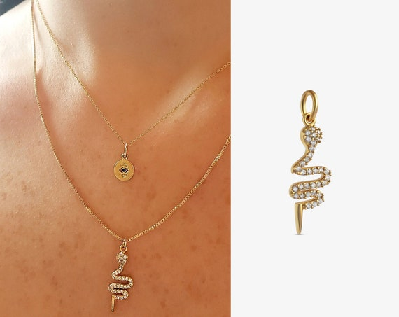 Freja Snake Pendant.  Gold Plated Brass and Cubic Zirconia.