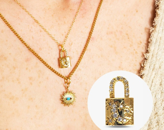 Kenji Pendant. Gold Plated Brass and Cubic Zirconia.