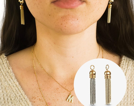 Caira Chain Tassel Pendant. Two Colors. Gold Plated Brass.