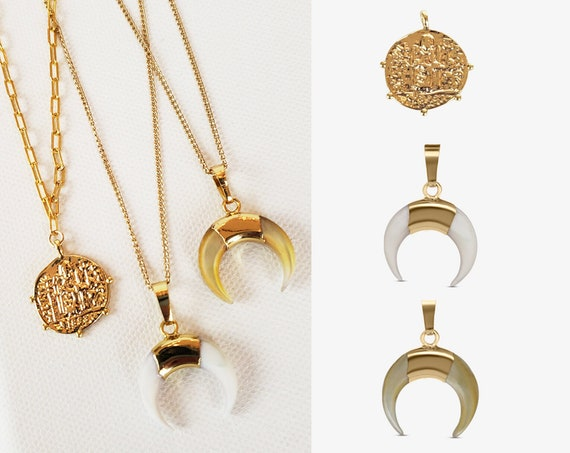 Slide-On Shell and Coin Layered Necklace Collection.