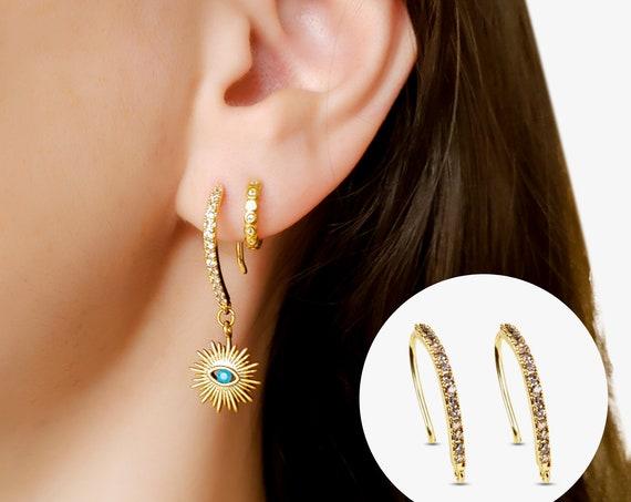 Kayla Ear Hooks. 24K Gold Plated Brass and Cubic Zirconia.