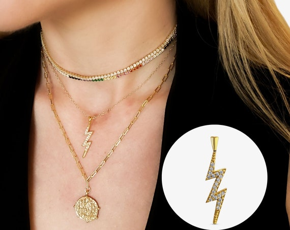 Val Lightning Bolt Pendant. Gold Plated Brass and Cubic Zirconia.