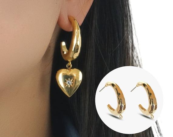 Jodi Hammered Hoop Earrings. 16K Gold Plated Brass.