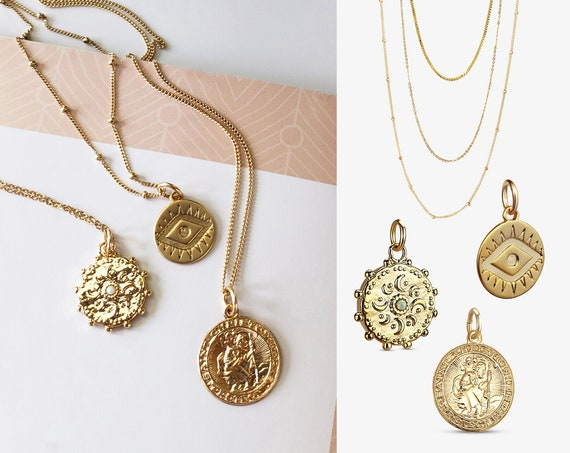 Classic Gold Coin Layered Necklace Collection. Three Styles.