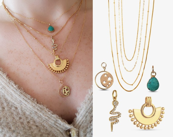 Slide-On Layering Necklace Collection. Four Styles.
