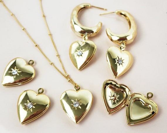 Annie Heart Locket. Gold Plated Brass and Cubic Zirconia.