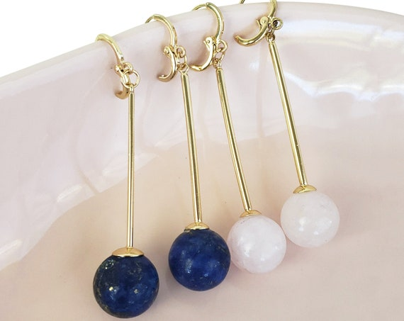 Zurie Pendants. Lapis Lazuli or Rose Quartz and Gold Plated Copper.