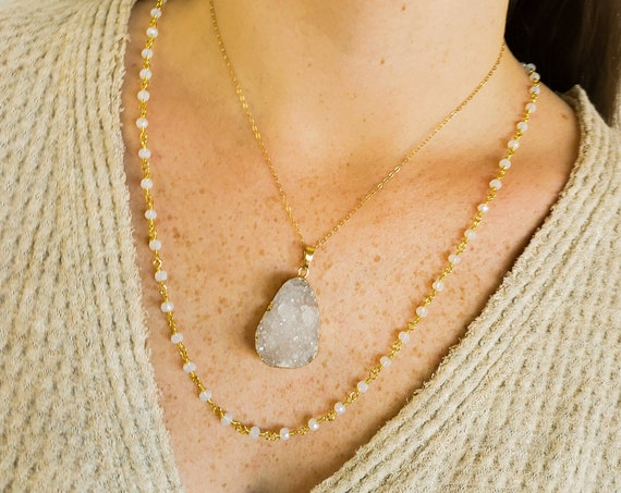 Milenah Chain By The Foot. Gold Plated Brass and Opalite Chain.