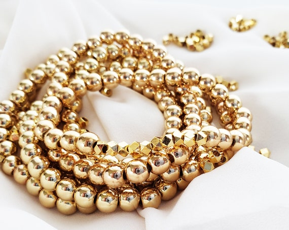 10 Artemis Gold Faceted Beads. Gold Plated Brass.