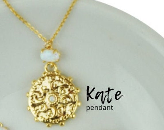 Kate Opal Pendant. Glass and Gold Plated Brass.