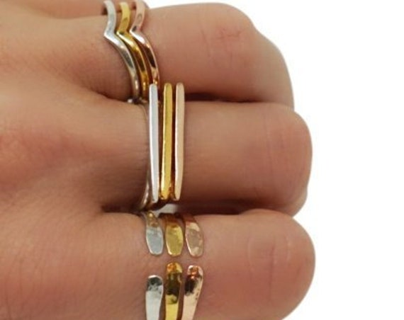 Charlotte Chevron, Chloe Bar, Clara Hammered Adjustable Stacker Ring Sets. Vermeil 22K Gold Over Sterling Silver.