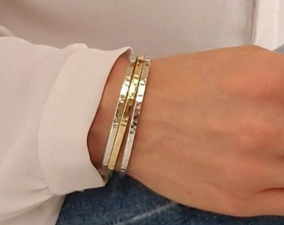 Debra Bracelet. Two Colors. Gold or Silver Plated Brass.