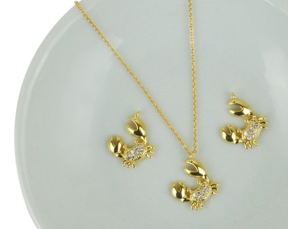 Lena Crab Pendant.  Gold Plated Brass and Cubic Zirconia.