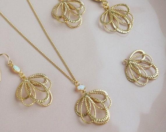 Belinda Pendant. Matte Gold Plated Brass.