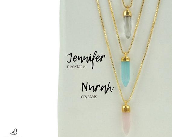 Nurah Spike Pendant. Six Gemstones. Vermeil Gold and Crystal.