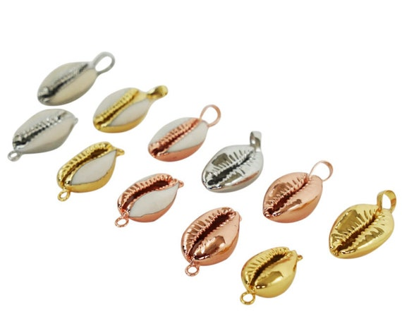 Cindy Pendant or Connector. Six Colors. 24K Gold or Sterling Silver Dipped Cowrie Shell.