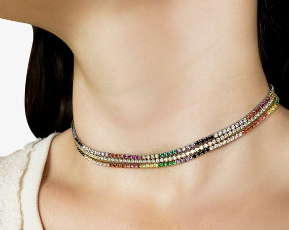 Allie Necklace. Three Colors. Gold or Silver Plated and Cubic Zirconia.