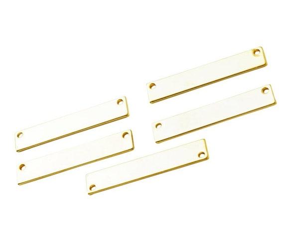 Helen Stamping Bar Connector. 16K Gold Plated Brass.