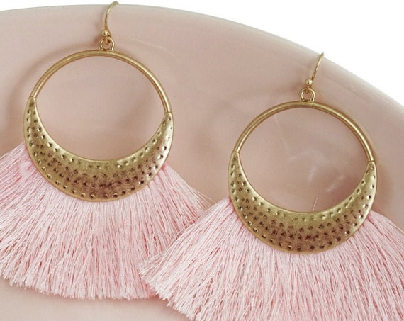 2 Pink Lyanna Pendants. Four Colors Available. Matte Gold Plating and Cotton Thread.
