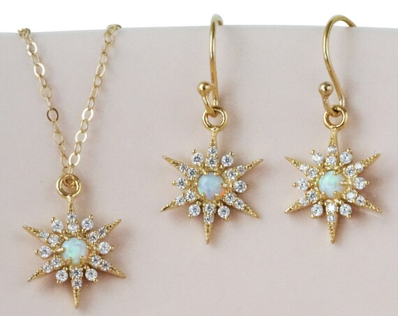 Opal Star Pendant. Gold Plated Brass, Opal and Cubic Zirconia.
