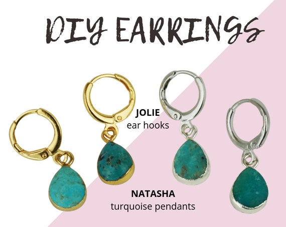 Natasha Pendant. Two Colors. Gold or Silver Plated Natural Turquoise Stone.