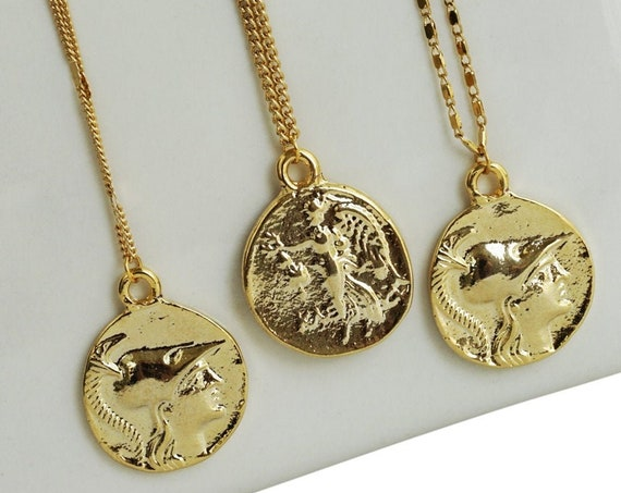 Alisha Greek Coin Pendant. Two Sides. 24K Gold Plated Brass.
