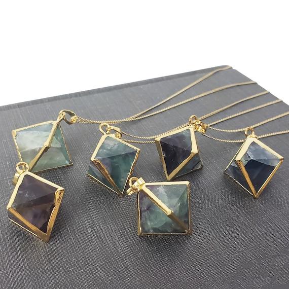 Freya Hexagonal Pendant. Rainbow Flourite and Gold Plating.