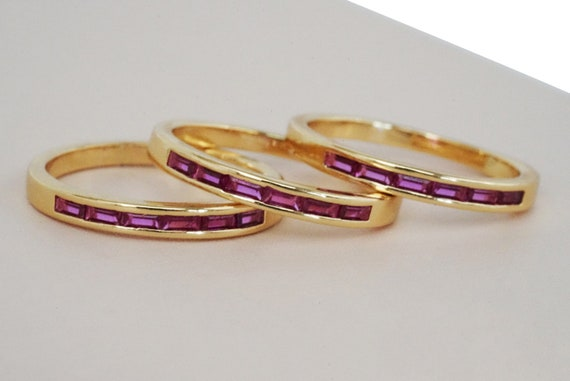 Kaylin Pink Baguette Stacker Ring. Three Sizes.