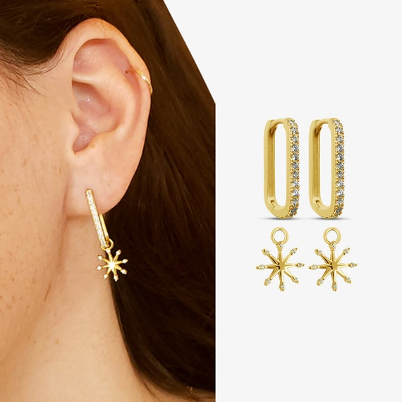 Versatile Hoops Collection with Elaina Charms. Fifteen Styles. Gold Plated Sterling Silver.
