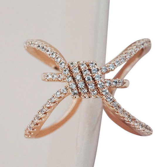 Ellianna Tie The Knot Ring. Adjustable. Rose Gold.