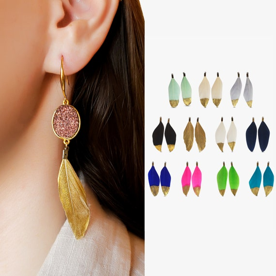 Two Tammy Feather Earring Charms. Eleven Colors. Feather and Gold Plated Brass.