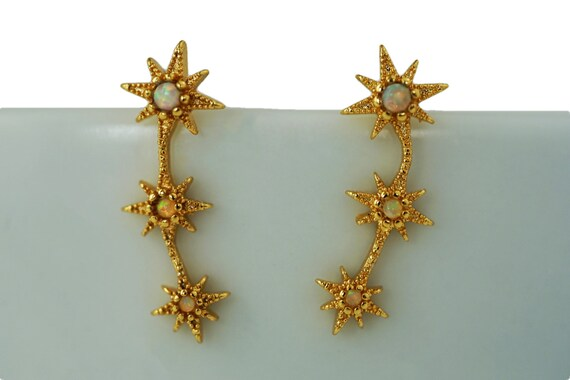Domino Opal Ear Climbers. Glass and Gold Plating.