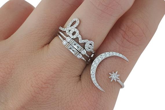 Iliana Moon Star Ring. Adjustable.