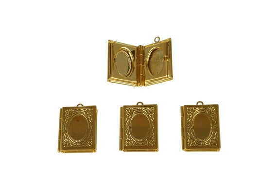 Gia Book Locket. Gold Plated Brass.