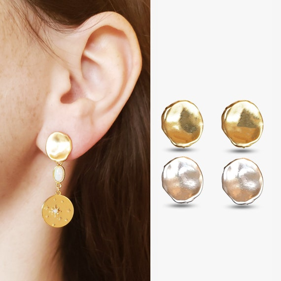 Amy Earrings. Two Colors. Gold or Silver Plated Brass.